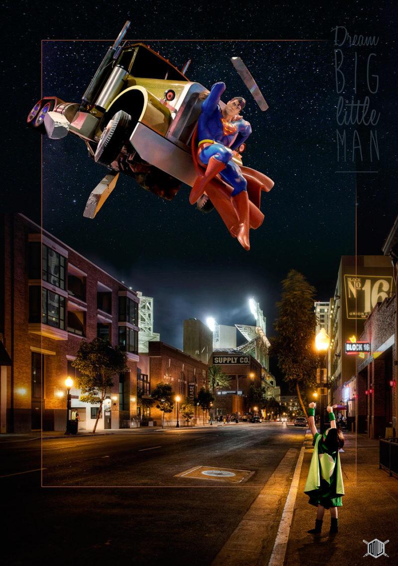 digital art kid night superman light