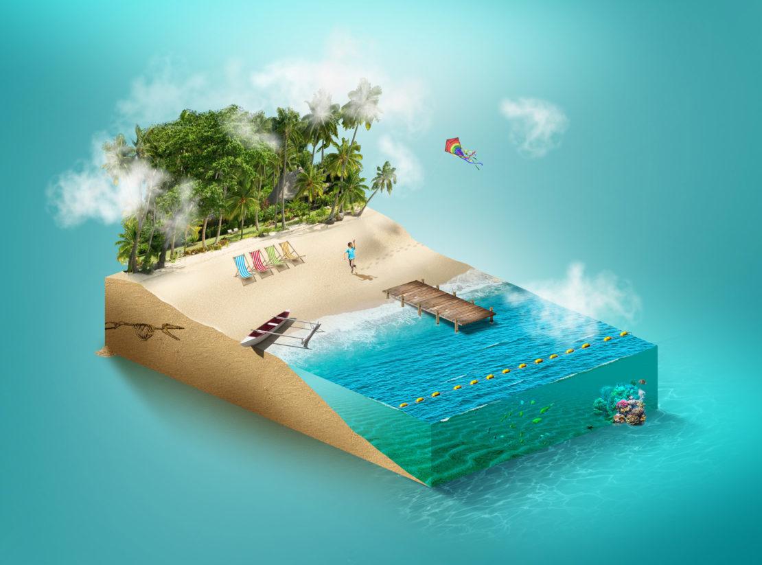 isometric tuto plage beach