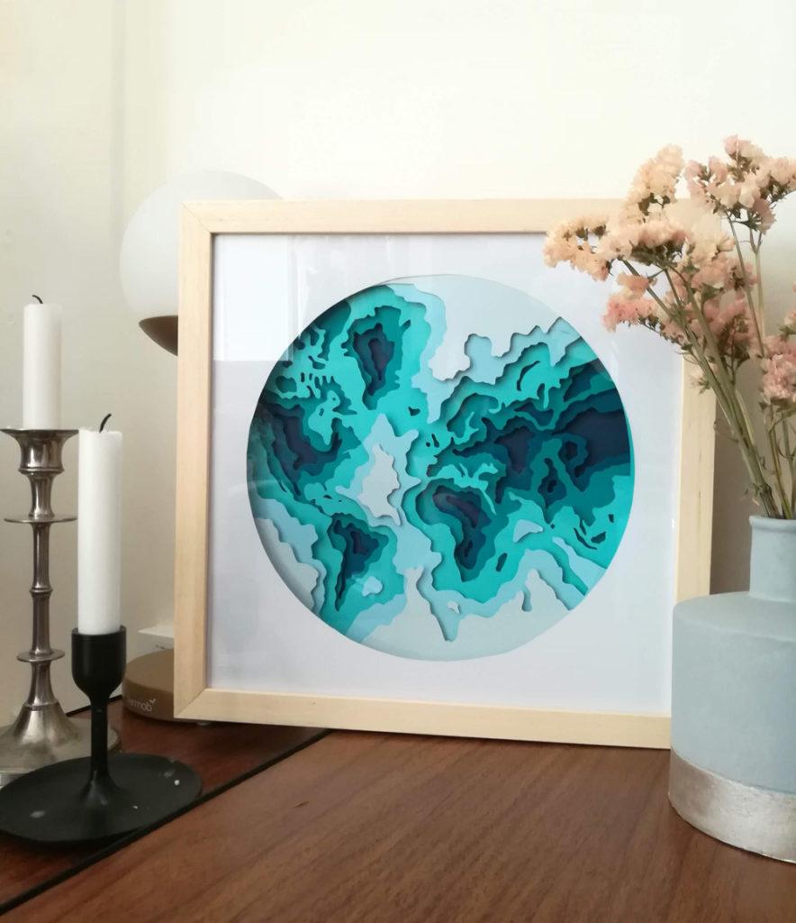Paper cut earth blue
